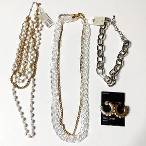 Jewelry Lot Bundle Long Necklaces Chain Earrings